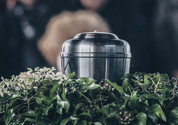 Metal Urn At A Funeral